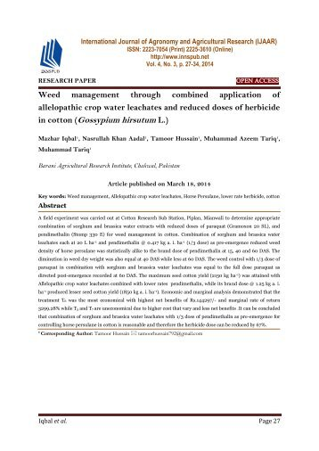 Weed management through combined application of allelopathic crop water leachates and reduced doses of herbicide in cotton (Gossypium hirsutum L.)