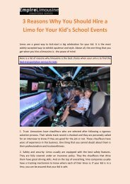 3 Reasons Why You Should Hire a Limo for Your Kid's School Events