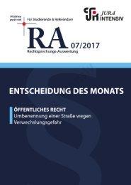 RA 07/2017 - Entscheidung des Monats