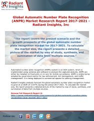 Global Automatic Number Plate Recognition (ANPR) Market Research Report 2017-2021 - Radiant Insights