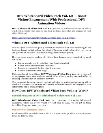 DFY Whiteboard Video Pack Vol. 1.2 Review-MEGA $22,400 Bonus & 65% DISCOUNT