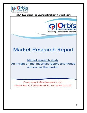 2017-2022 Global Top Countries Emollient Market Report