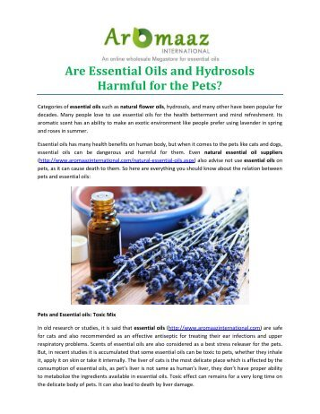 Are Essential Oils and Hydrosols Harmful for the Pets?