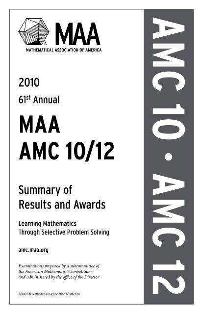 Maa Amc 10 12 American Mathematics Competitions Ellen chen, 46rebecca chen, 82amy chen, 58. maa amc 10 12 american mathematics