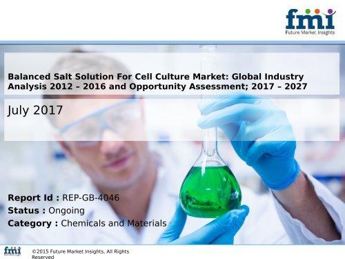 Balanced Salt Solution For Cell Culture Market