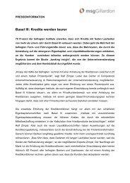 Basel III: Kredite werden teurer - msgGillardon AG