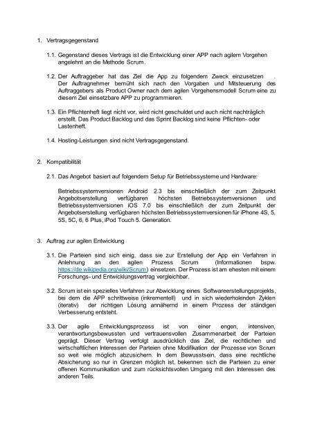 Angebot Agiler Vertrag 1