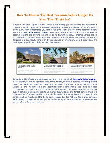 How To Choose The Best Tanzania Safari Lodges On Your Tour To Africa