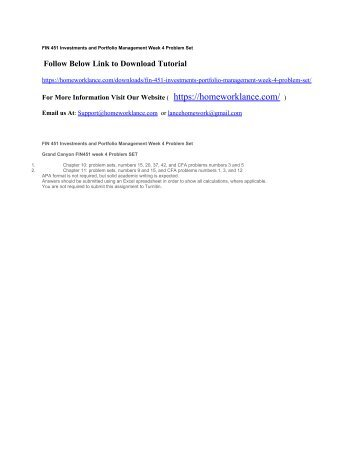 FIN 451 Investments and Portfolio Management Week 4 Problem Set