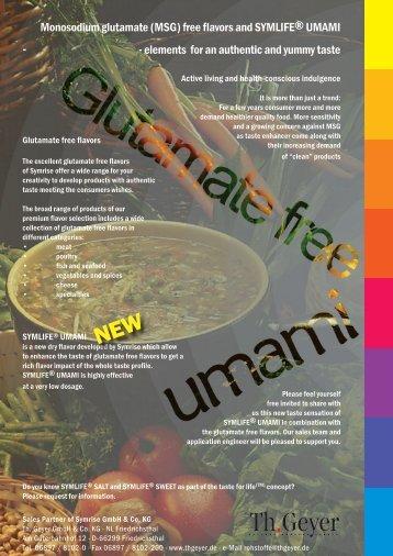 Monosodium glutamate (MSG) free flavors and SYMLIFE ... - Procudan