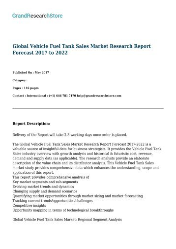 Global Vehicle Fuel Tank Sales Market Research Report Forecast 2017 to 2022