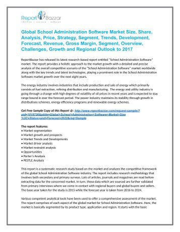 School Administration Software Market  Demand, Overview, Price and Forecasts To 2022