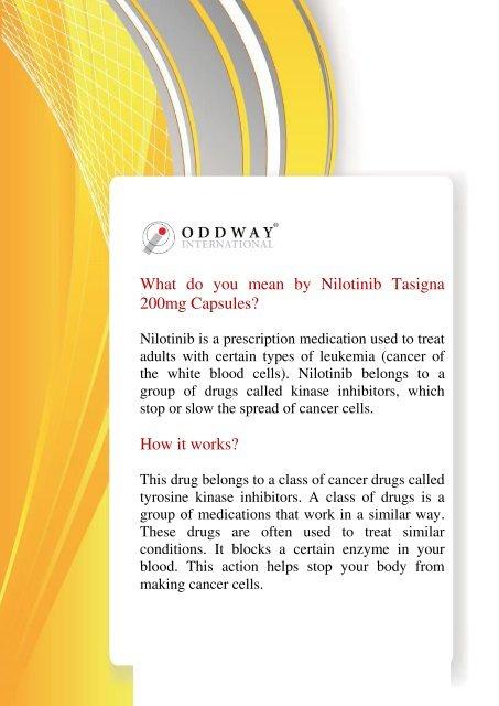 Nilotinib 200mg Tasigna Capsules Novartis | Anti Cancer