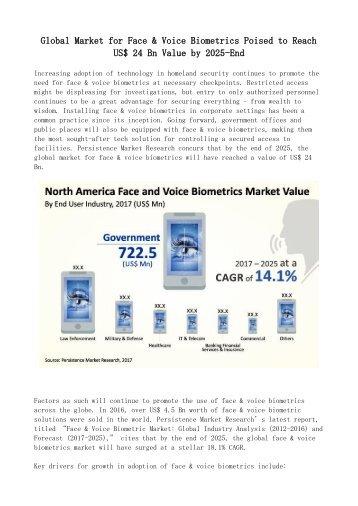 Face and Voice Biometrics Market Analysis 2017-2025