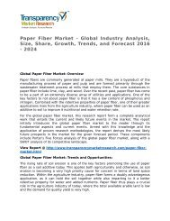 Paper Fiber Market 2015 Trends, Research, Analysis and Review Forecast 2023