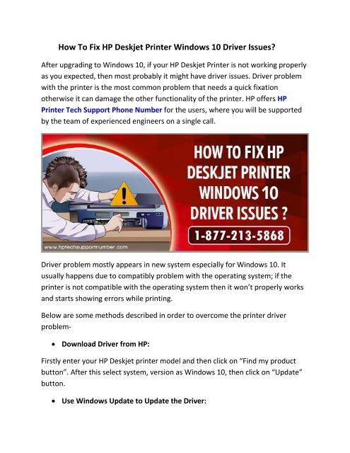 Fix HP Deskjet Printer Windows 10 Driver Issues