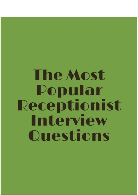 The Most Popular Receptionist Interview Questions