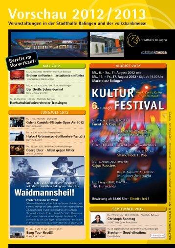 Vorschau 2012 / 2013 Veranstaltungen in der Stadthalle Balingen ...