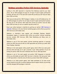Webbuzz provides Perfect SEO Services Australia