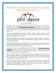 Phil Devin Consultants: Committed to getting the results you deserve