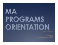 ma programs orientation - Department of Politics, New York University
