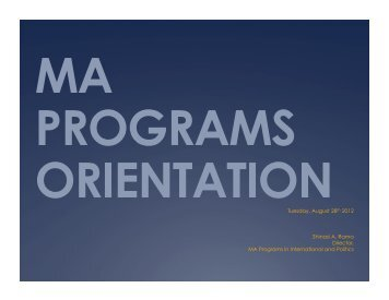 ma programs orientation - Department of Politics, New York University