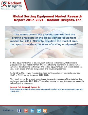 Global Sorting Equipment Market Research Report 2017-2021 - Radiant Insights
