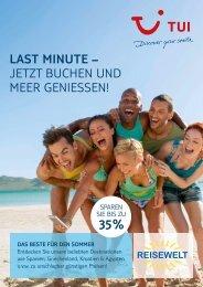 Last Minute TUI Angebote bei der Reisewelt!