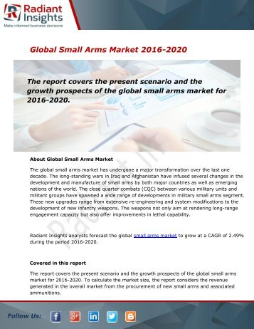 global small arms market The market attractive analysis has also been provided in the report for providing a detailed insight into the global small arms and light weapons (salw) market.