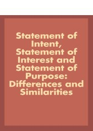 Statement of Intent, Statement of Interest and Statement of Purpose: Differences and Similarities