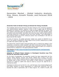 Generator Market 2016 Trends, Research, Analysis and Review Forecast 2024