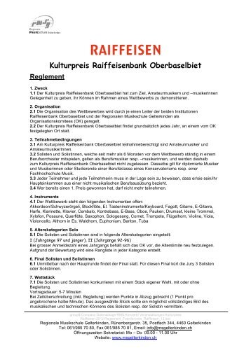 Kulturpreis Raiffeisenbank Oberbaselbiet Reglement - Musikschule ...