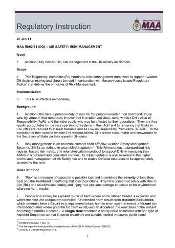MAA RI/02/11 - Military Aviation Authority