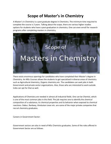 Masters in Chemistry