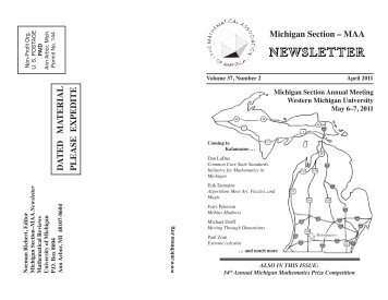 Michigan Section – MAA DA TED MA TERIAL PLEASE EXPEDITE