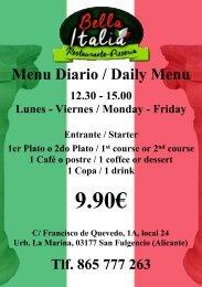 Bella Italia A5 menu del dia flyer