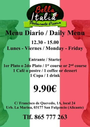 Bella Italia A5 menu del dia flyer