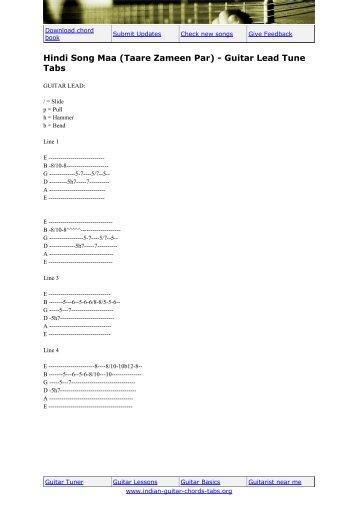 Hindi Song Maa (Taare Zameen Par) - Guitar Lead Tune Tabs