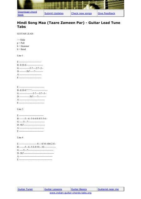 Songs on guitar tabs