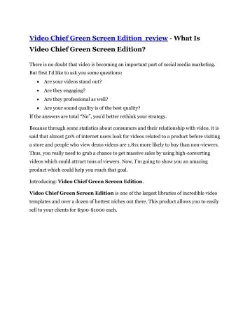 Video Chief Green Screen Edition Review – (Truth) of Video Chief Green Screen Edition and Bonus