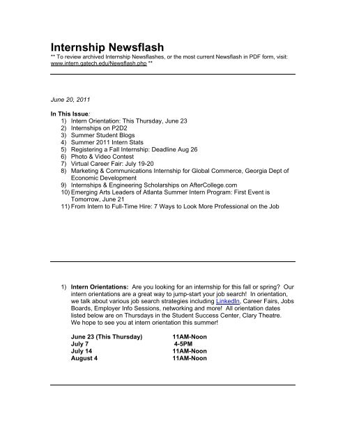 Internship Weekly Newsflash - the Georgia Tech Internship