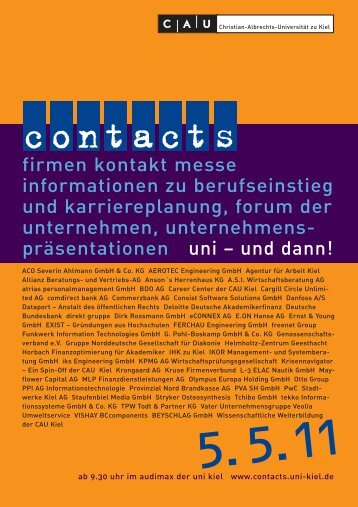 Katalog 2011 - Contacts - Christian-Albrechts-Universität zu Kiel