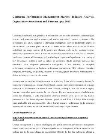 Corporate Performance Management Market