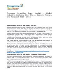 Pressure Sensitive Tape Market - Global Industry Analysis, Size, Share, Growth, Trends, and Forecast 2016 - 2026