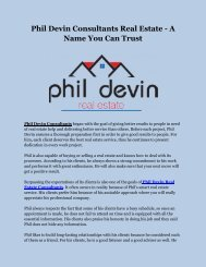 Phil Devin Consultants Real Estate - A Name You Can Trust