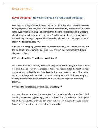 Royal Wedding – How Do You Plan A Traditional Wedding