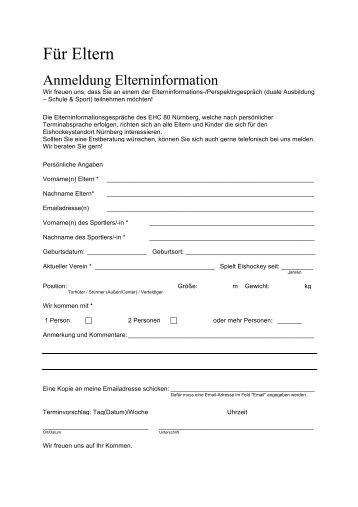 Anmeldung Elterninformation