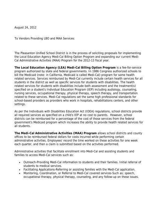 LBO/MAA (Medi-Cal) Billing RFP 2012 - Pleasanton Unified