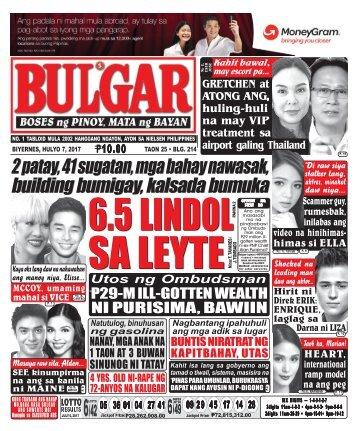 JULY 7, 2017 BULGAR: BOSES NG PINOY, MATA NG BAYAN
