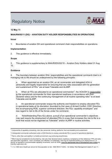 MAA/RN/05/11 - Military Aviation Authority